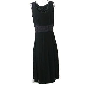 Perceptions Slinky Black Dress Shimmery Waistband